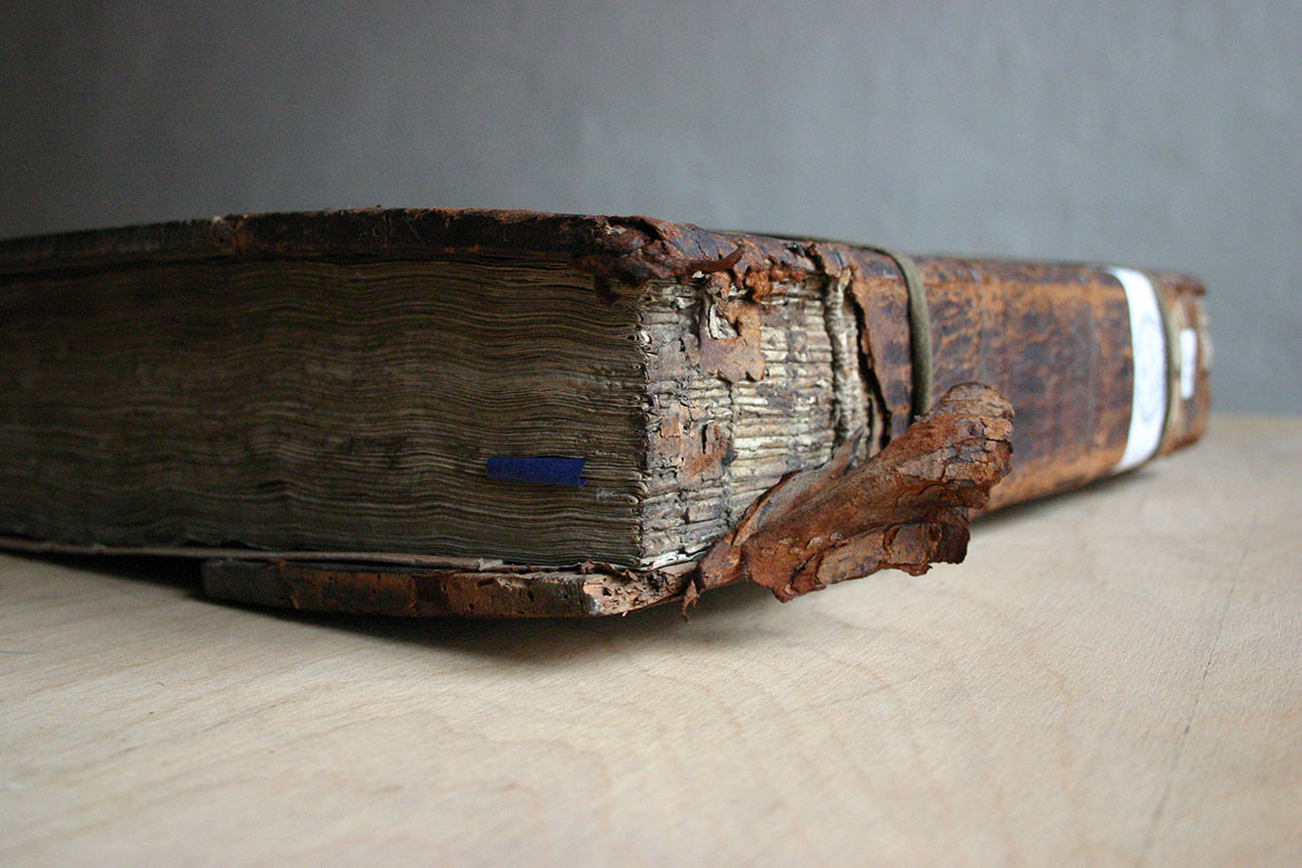 Damaged and scarred book