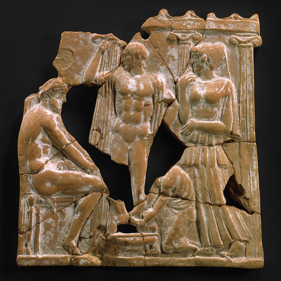 Greek plaque depicting Eurykleia discovering Odysseus's scar
