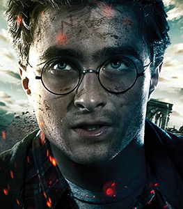 Film poster of Harry Potter with scar