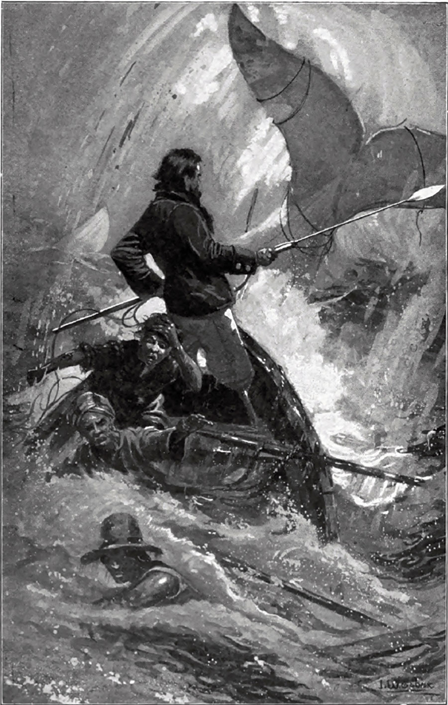 Herman Melville's Capt. Ahab preparing to cast his harpoon at Moby Dick