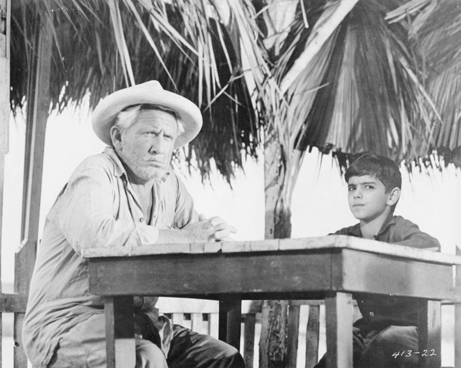 Film still with Spencer Tracey in film adaptation of Ernest Hemingway's The Old Man and the Sea